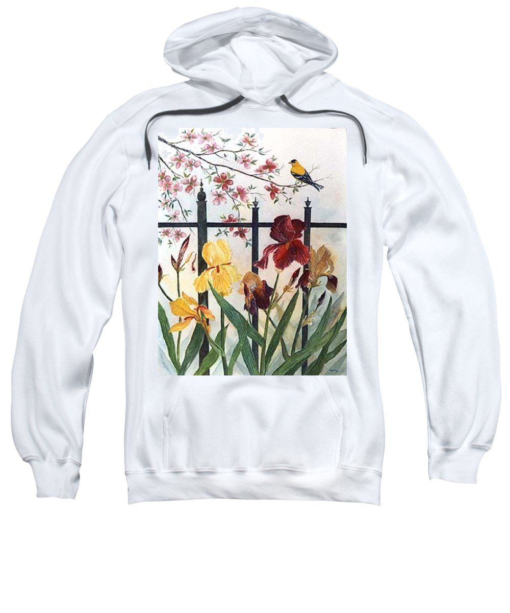 Irises; American Goldfinch; Dogwood Tree Sweatshirt featuring the painting Victorian Garden by Ben Kiger