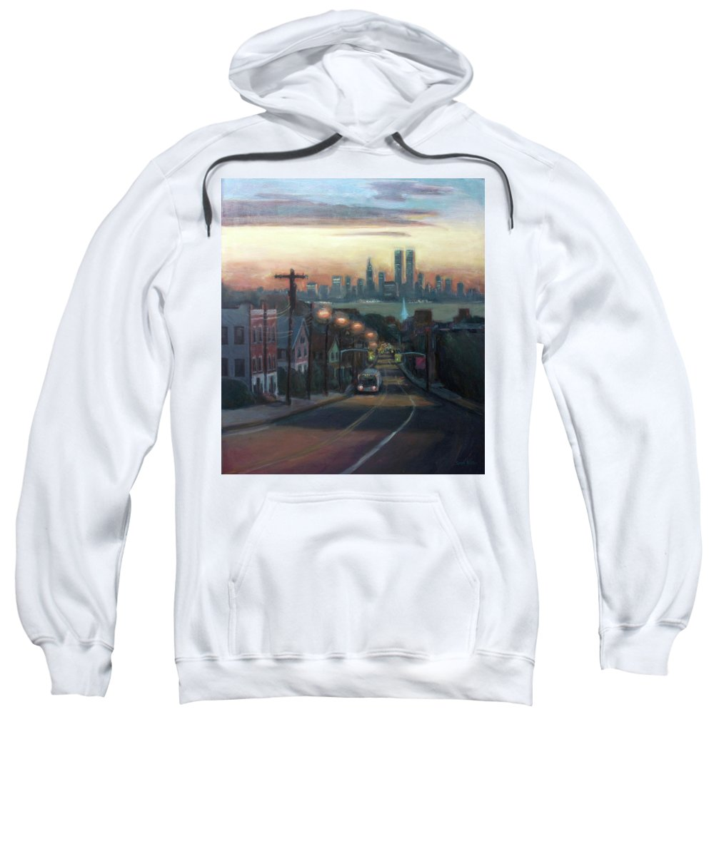 Manhattan Skyline Sweatshirt featuring the painting Victory Boulevard At Dawn by Sarah Yuster