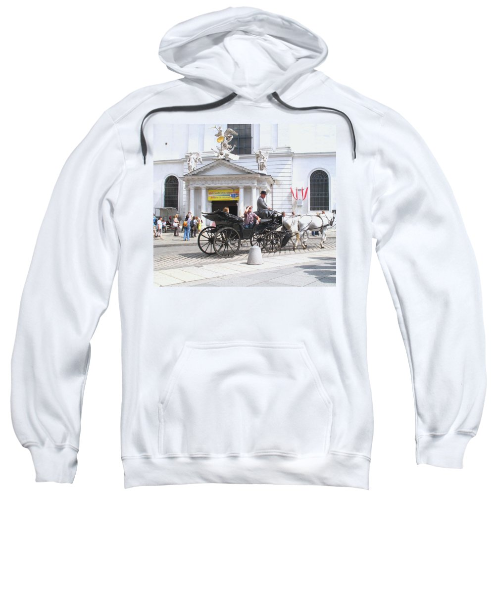 Carriage Sweatshirt featuring the photograph Vienna Horse And Carriage by Ian MacDonald