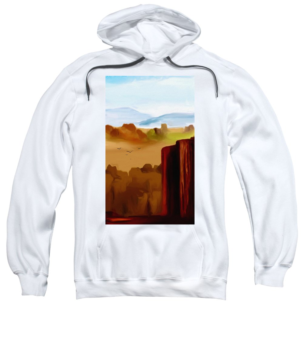 Digital Painting Sweatshirt featuring the digital art View From A Butte by David Lane