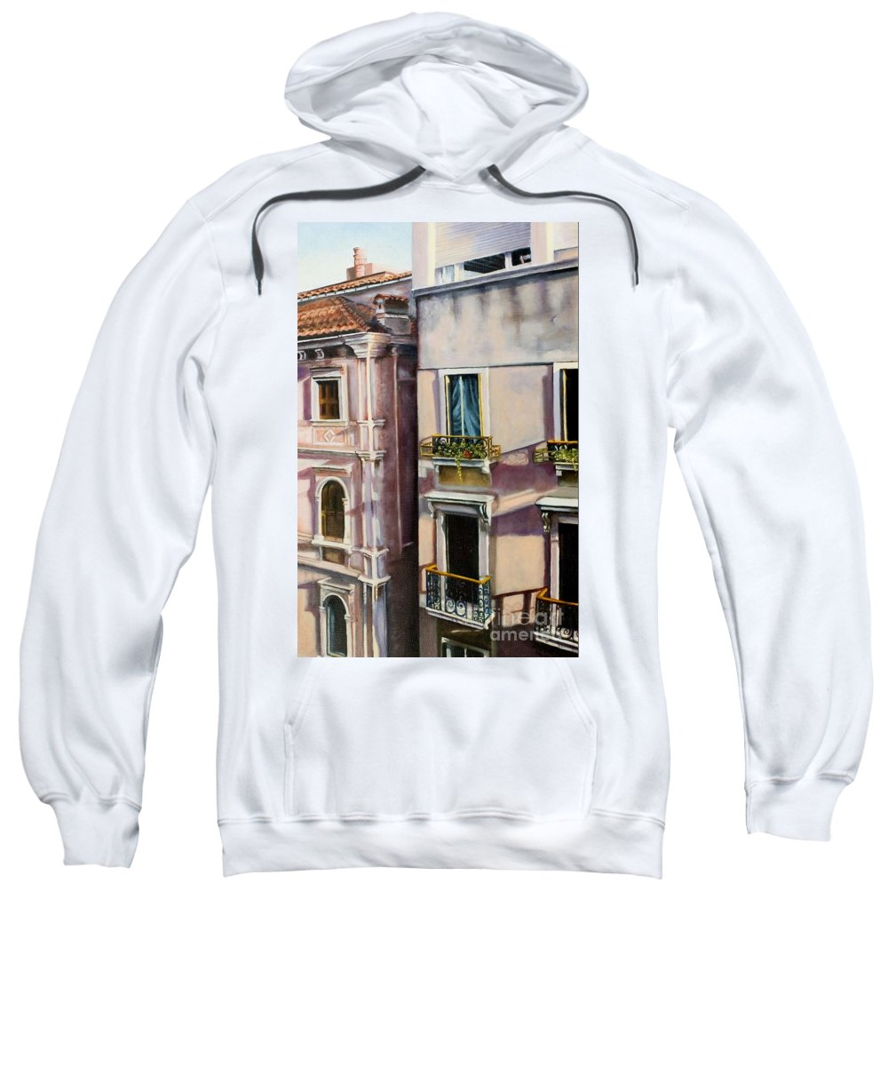 Landscape Sweatshirt featuring the painting View From A Venetian Window by Marlene Book