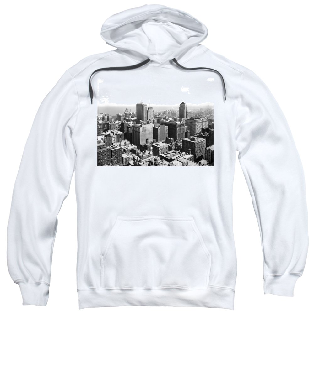 1940s Sweatshirt featuring the photograph View Over Downtown Chicago by Underwood Archives