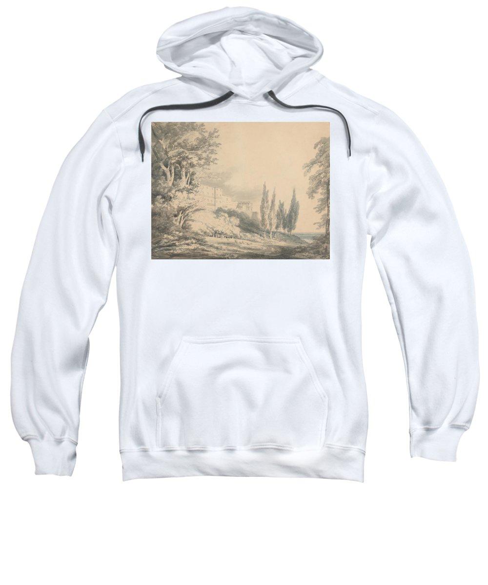 Villa D'este Sweatshirt featuring the drawing Villa D'este by Grypons Art