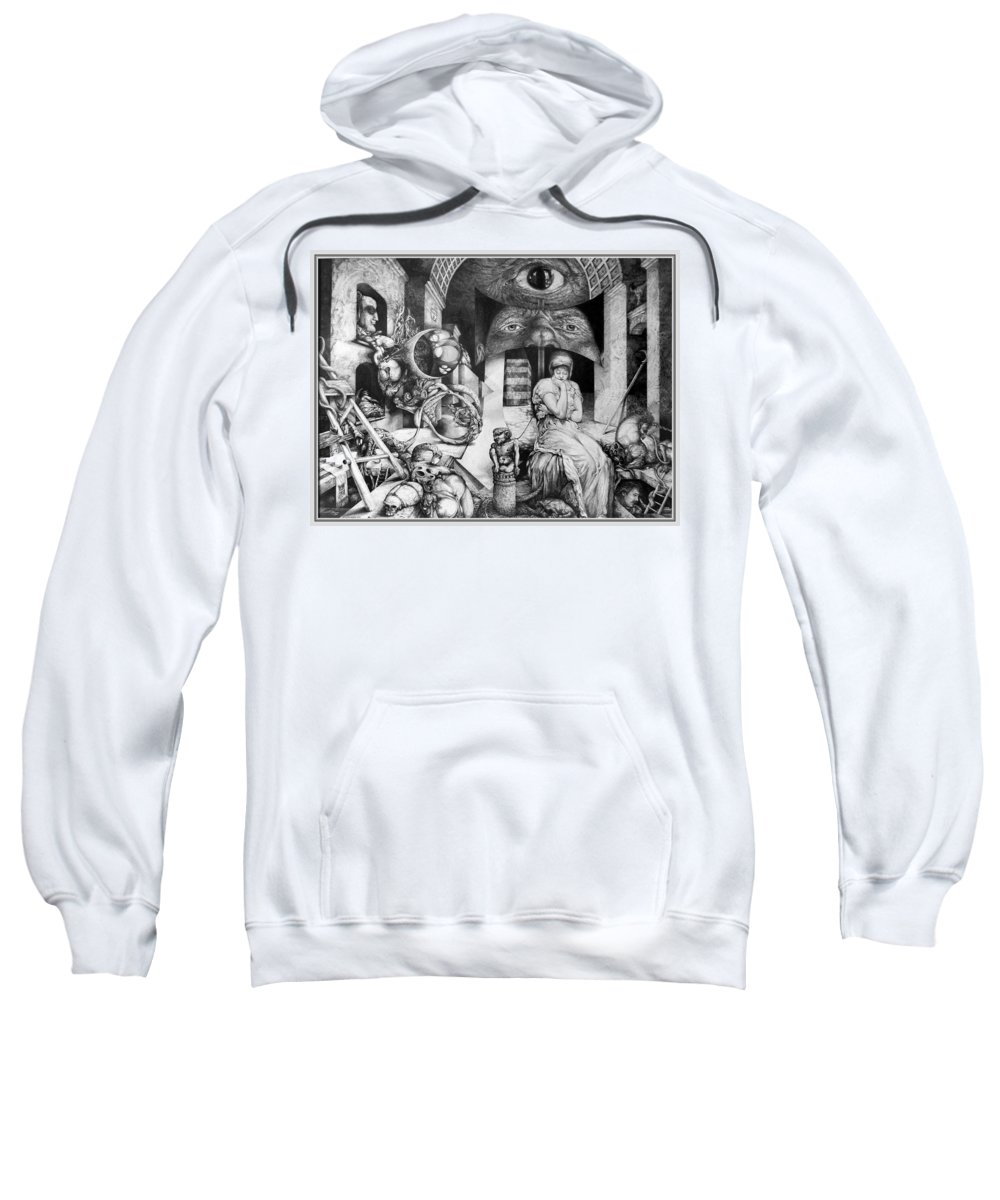 Surrealism Sweatshirt featuring the drawing Vindobona Altarpiece IIi - Snakes And Ladders by Otto Rapp