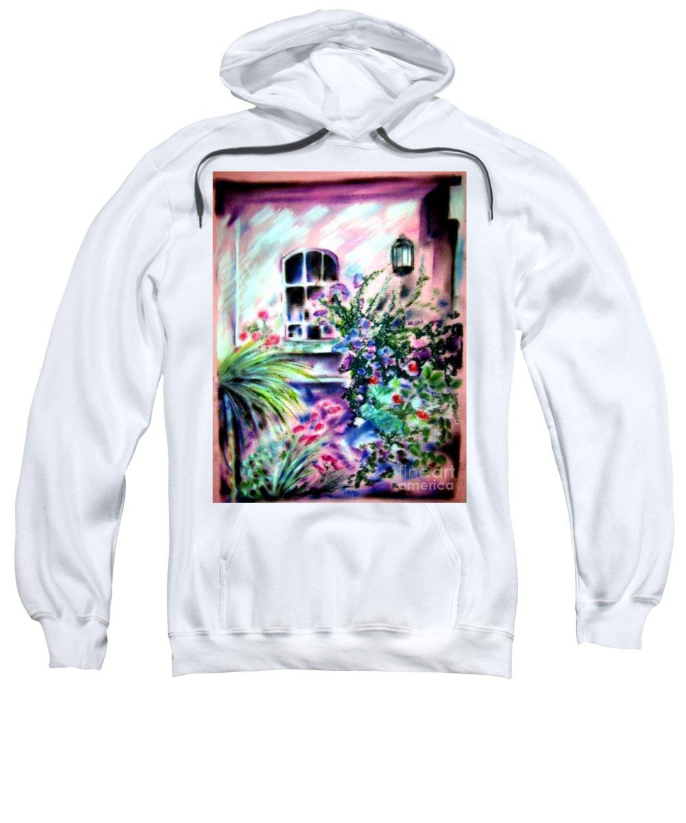 Vineyard Sweatshirt featuring the pastel Vineyard Patio by Sandy Ryan