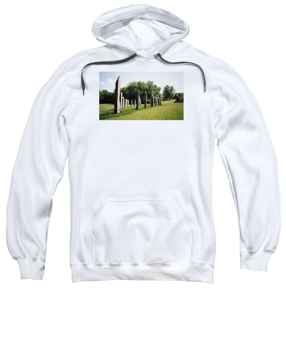 Historic Sculpture From 1999 Sweatshirt featuring the sculpture Vinland by Jarle Rosseland