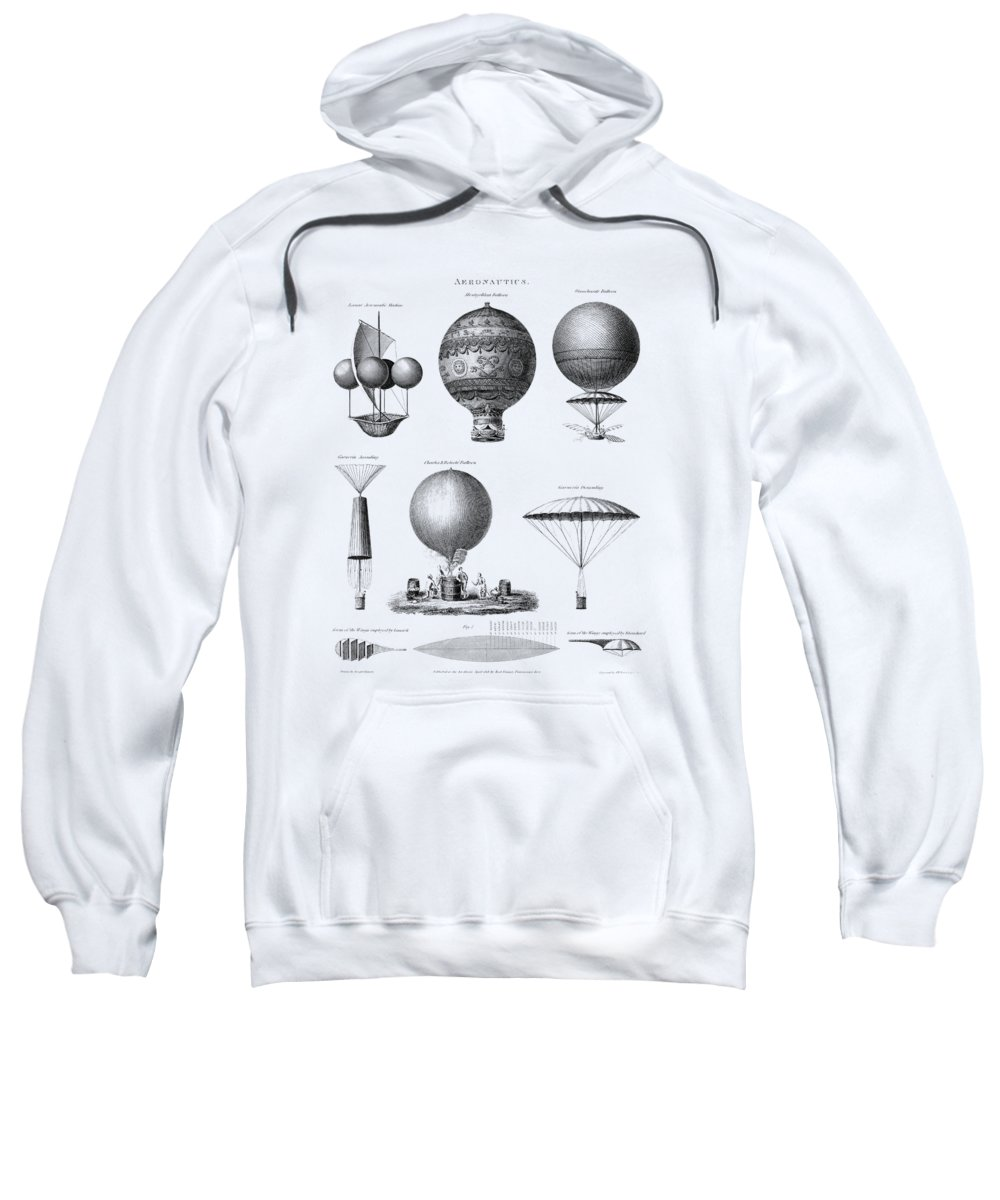 Balloonist Sweatshirt featuring the mixed media Vintage Aeronautics - Early Balloon Designs by War Is Hell Store