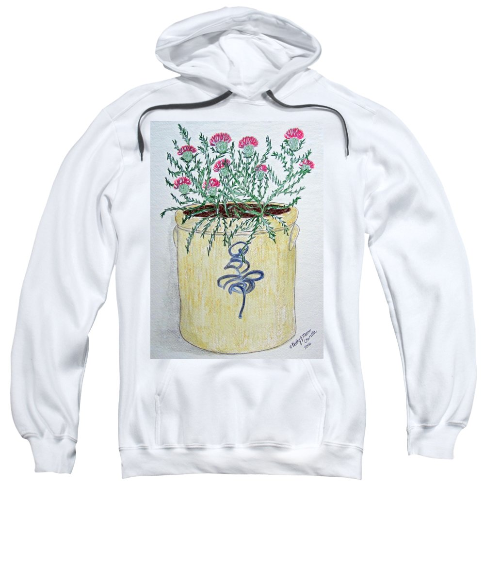 Vintage Sweatshirt featuring the painting Vintage Bee Sting Crock And Thistles by Kathy Marrs Chandler