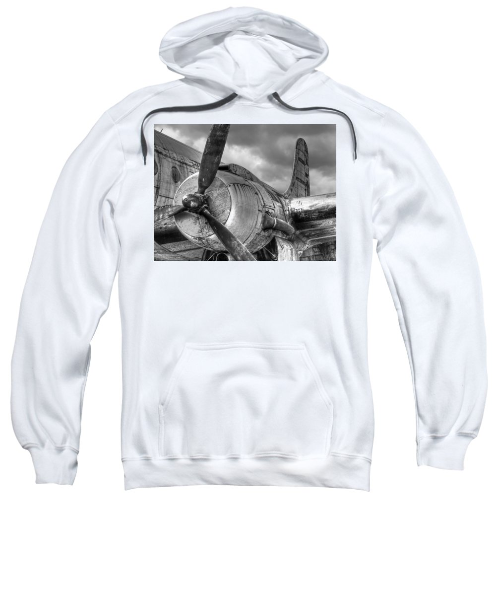 Aviation Sweatshirt featuring the photograph Vintage Prop - Black And White by Gill Billington