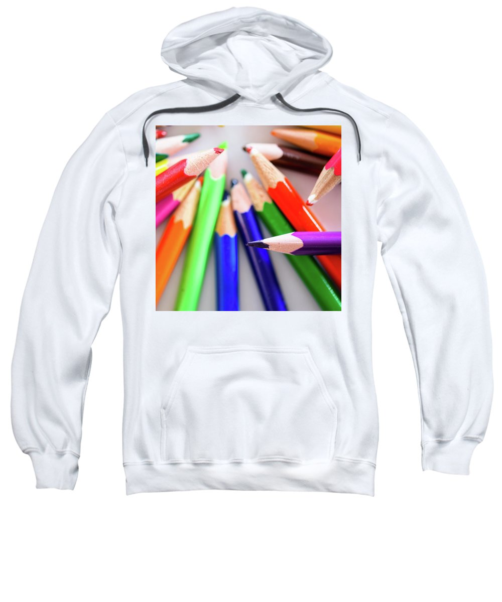 Background Sweatshirt featuring the photograph Violet. Colored Pencils by Nicola Simeoni