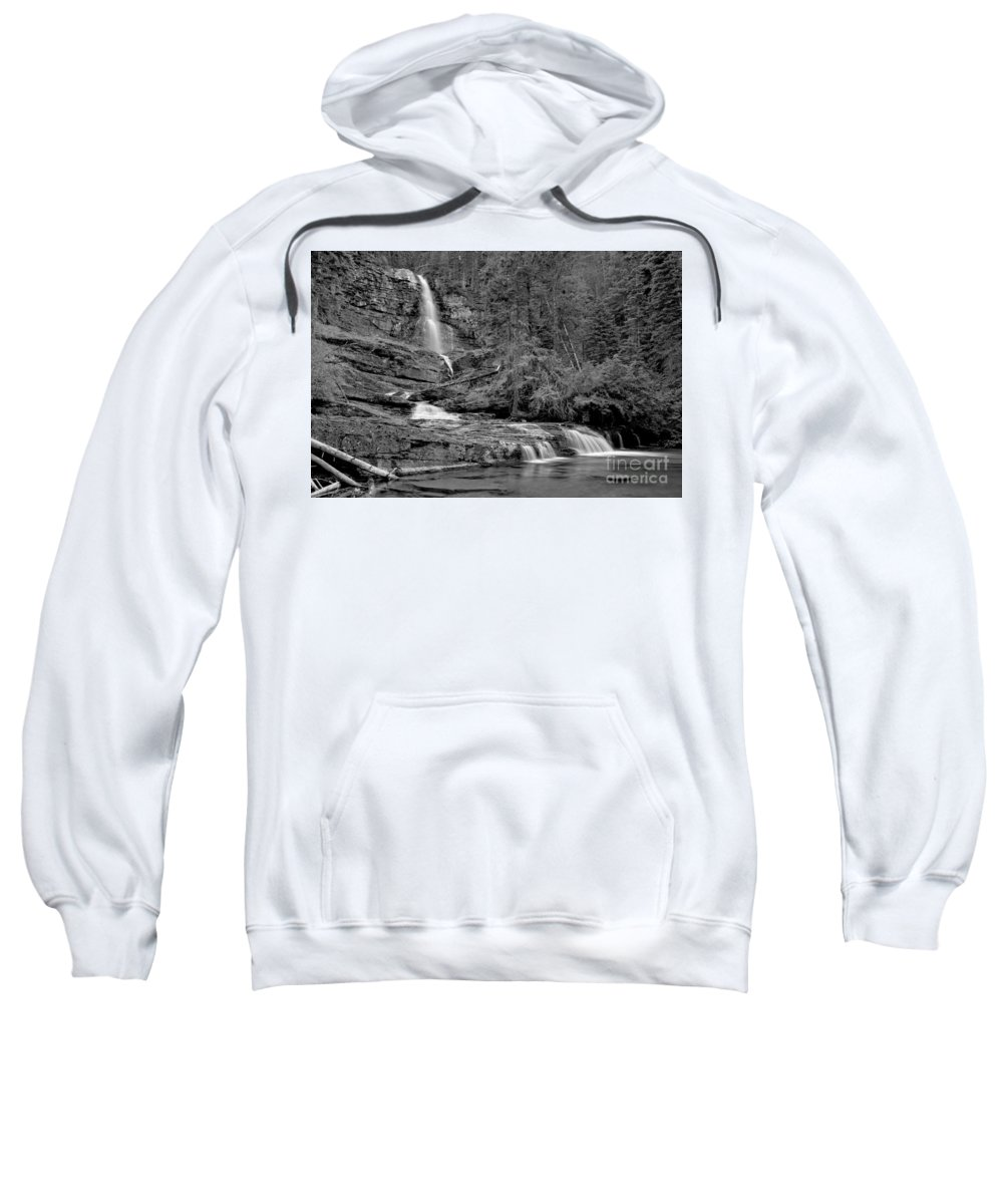 Black And White Sweatshirt featuring the photograph Virgnia Falls Pool - Black And White by Adam Jewell