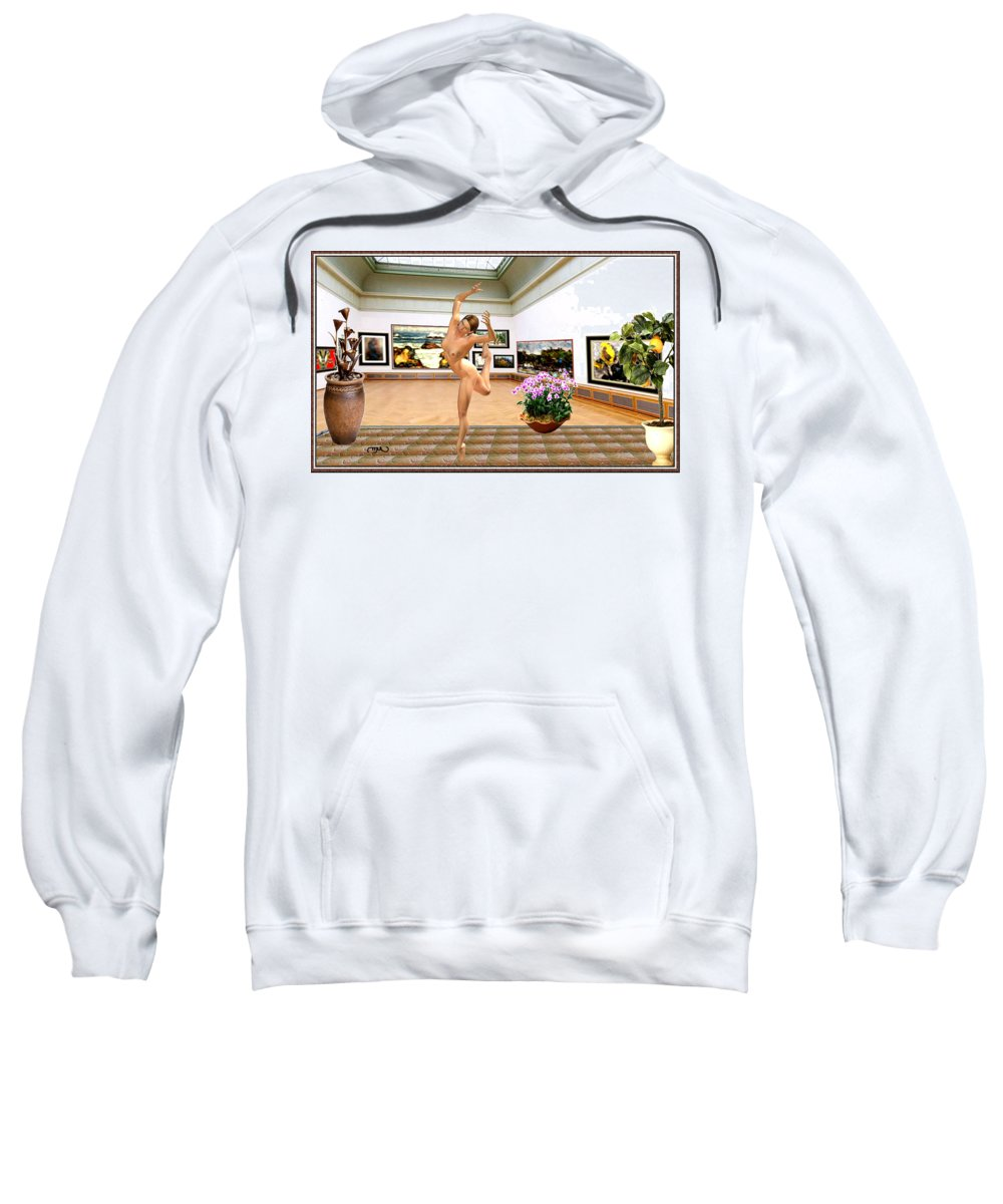 Modern Painting Sweatshirt featuring the mixed media Virtual Exhibition - Dacanvasncing Girl by Pemaro
