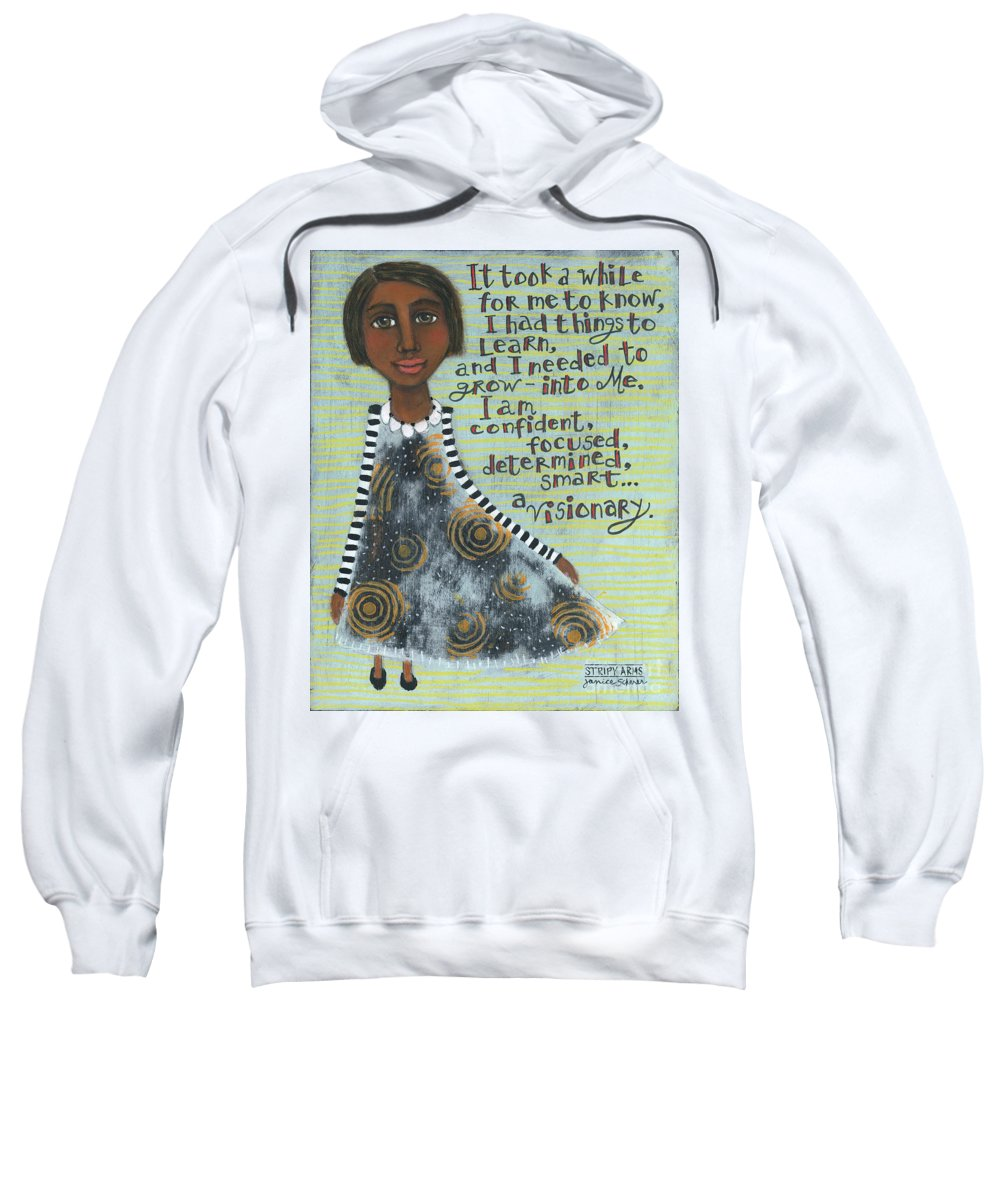 Stripy Arms Sweatshirt featuring the painting Visionary by Janice Scherer