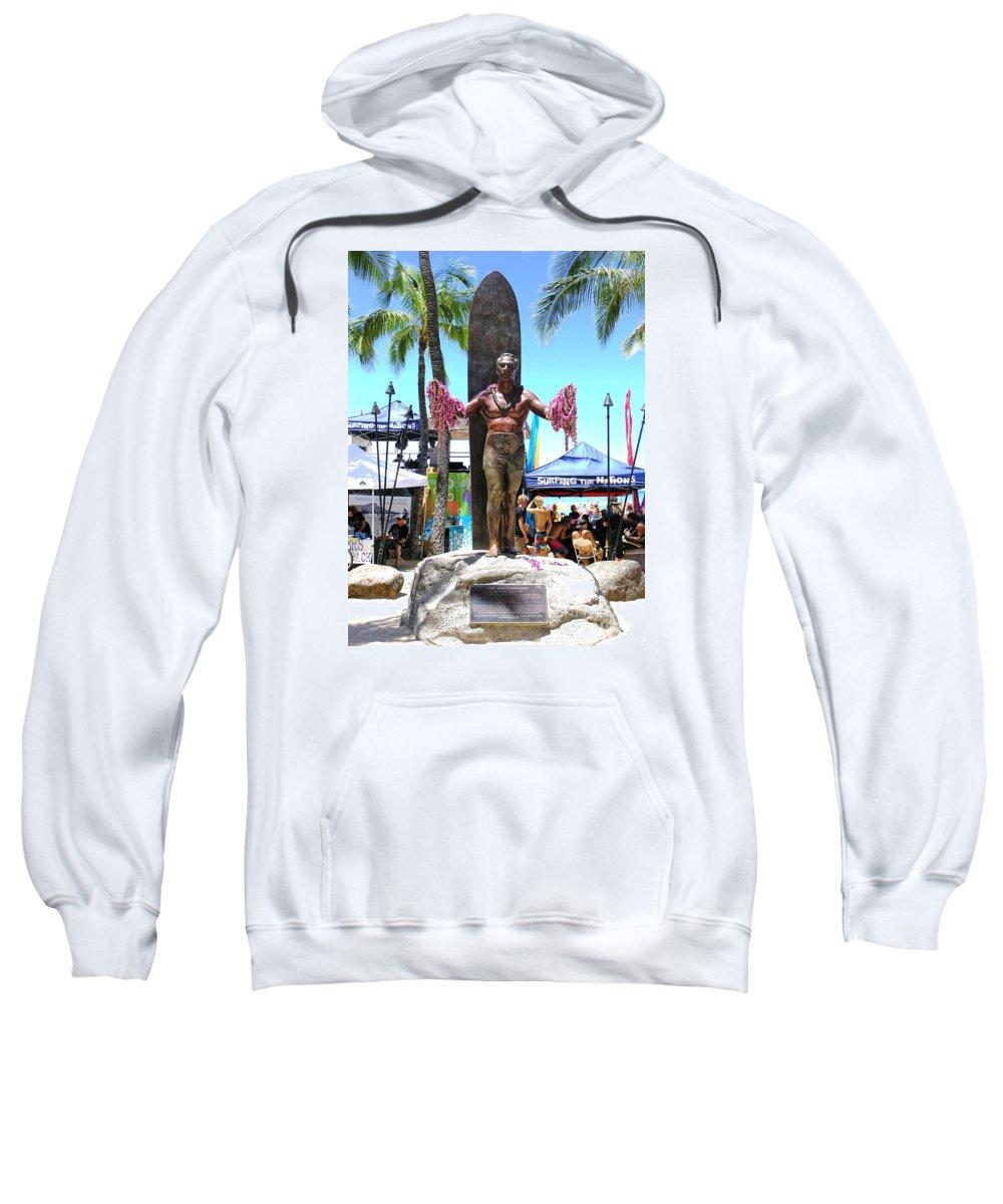 Statues Sweatshirt featuring the photograph Waikiki Statue - Duke Kahanamoku by Mary Deal