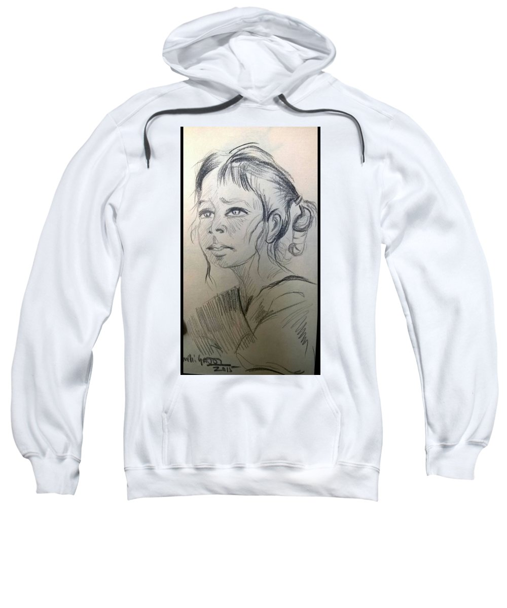 Portrait Sweatshirt featuring the drawing Wait by Murali Gatti