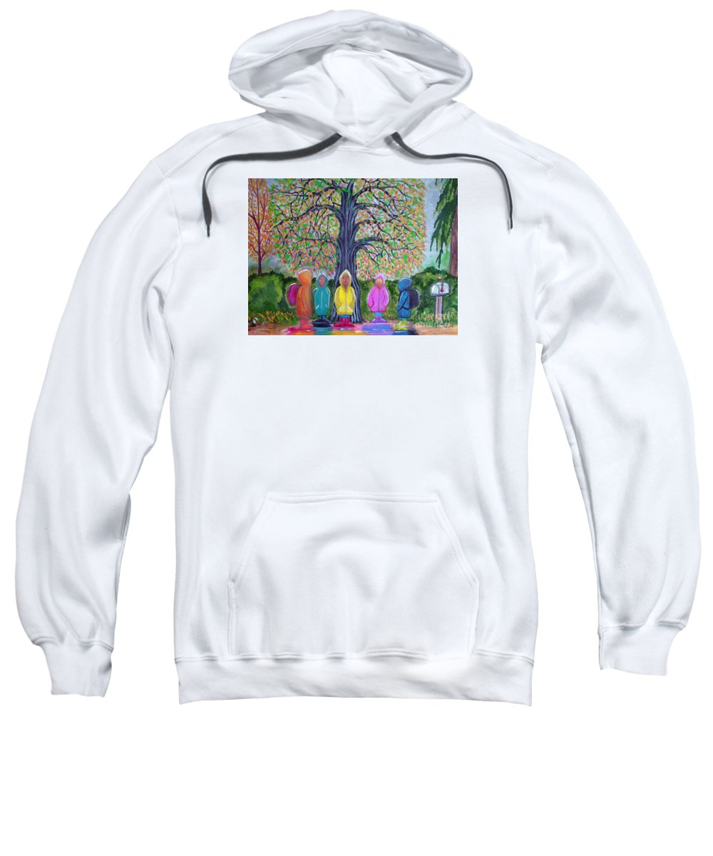 Children Sweatshirt featuring the painting Waiting For The Bus by Nick Gustafson