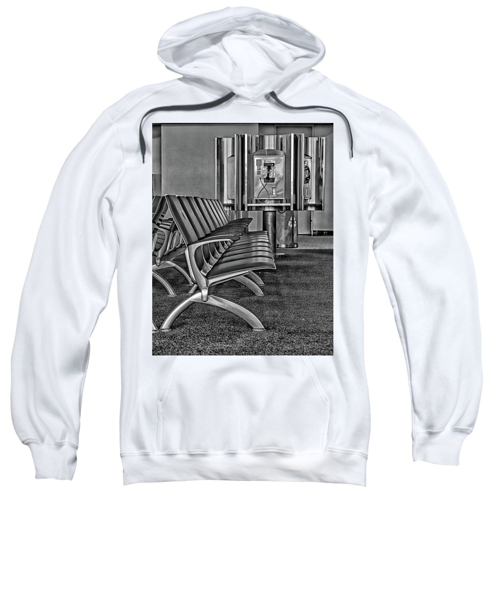 Payphone Waiting Bus Stop Sweatshirt featuring the photograph Waiting by Gary Brown
