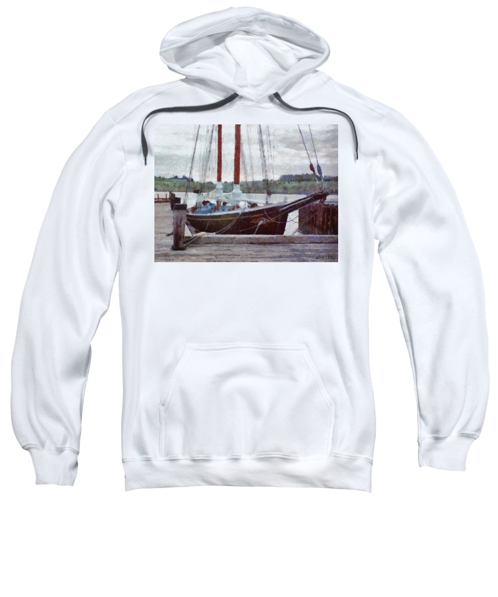 Canadian Sweatshirt featuring the painting Waiting To Sail by Jeffrey Kolker
