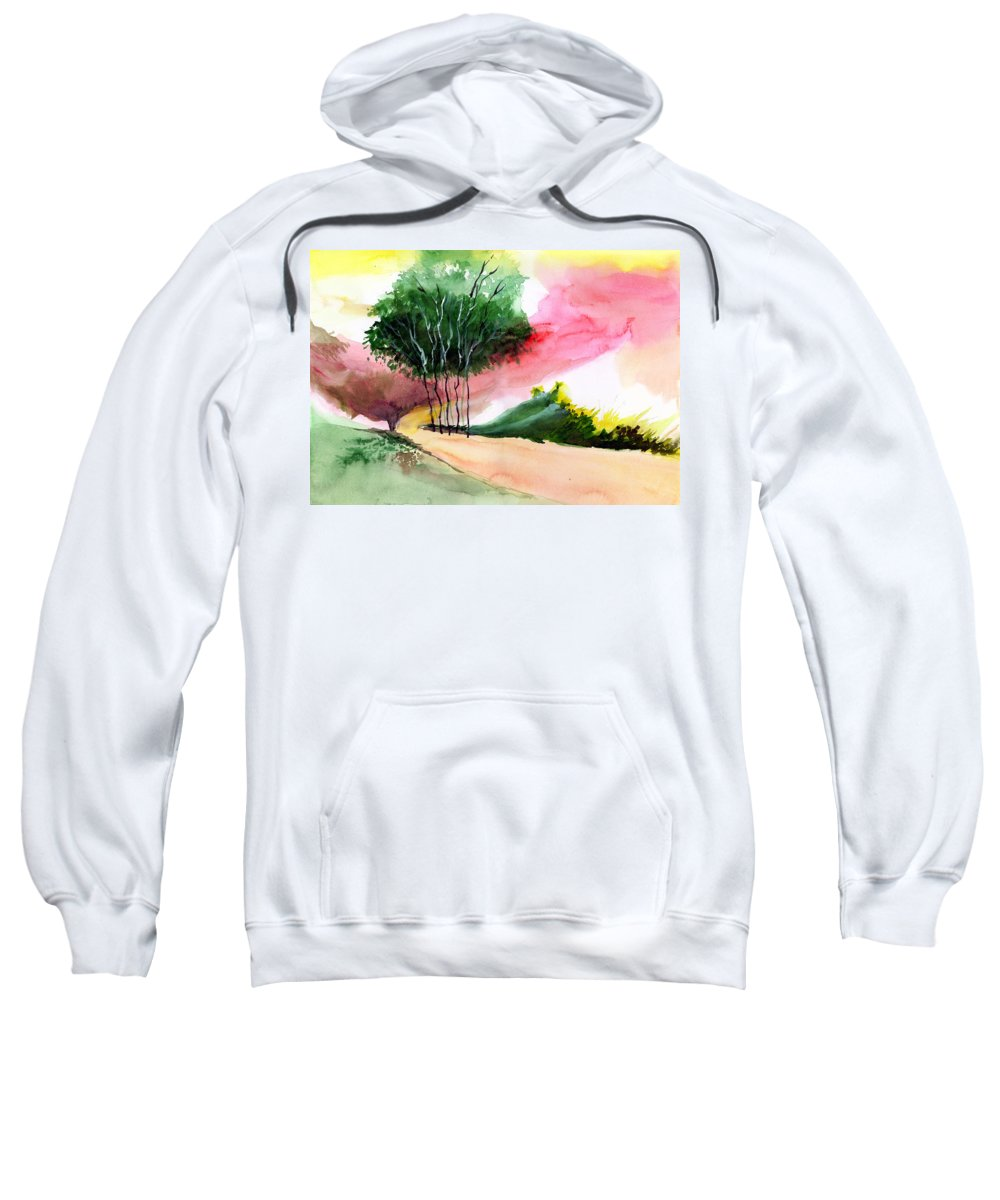 Watercolor Sweatshirt featuring the painting Walk Away by Anil Nene