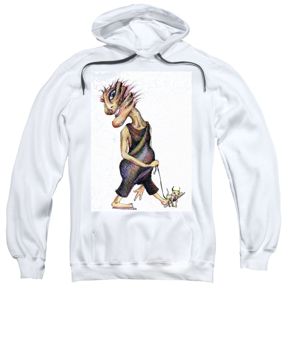 Whimsies Sweatshirt featuring the drawing Walk The Dog by Mark Johnson