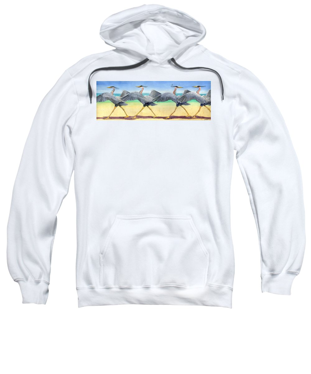 Heron Sweatshirt featuring the painting Walk This Way by Catherine G McElroy