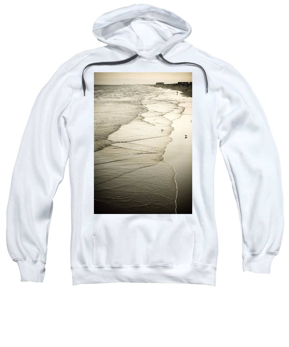 Ocean Sweatshirt featuring the photograph Walking Along The Beach At Sunrise by Marilyn Hunt