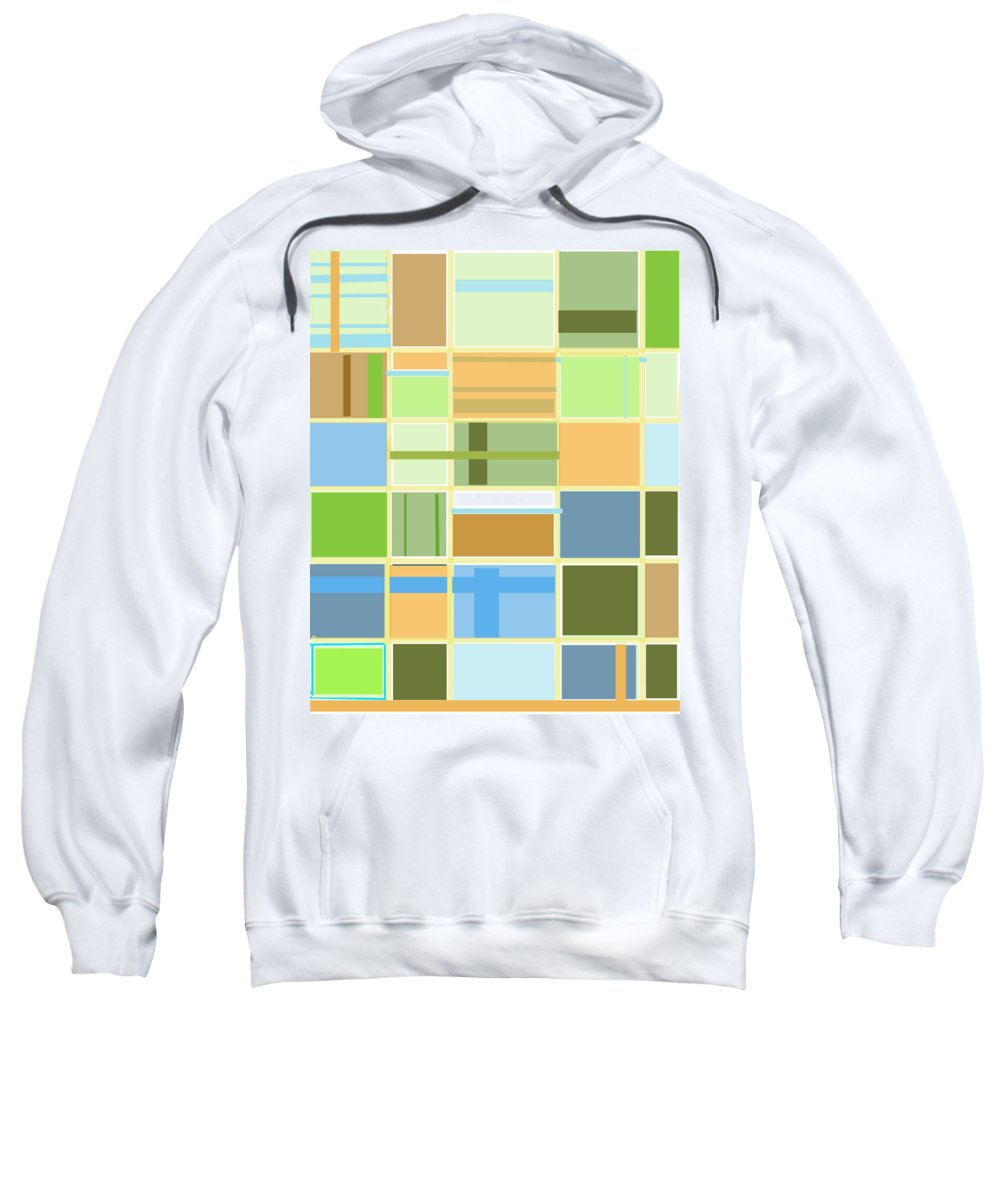 Patterns Abstract Blues Greens Squares Sweatshirt featuring the digital art We Are Connected by Suzanne Udell Levinger