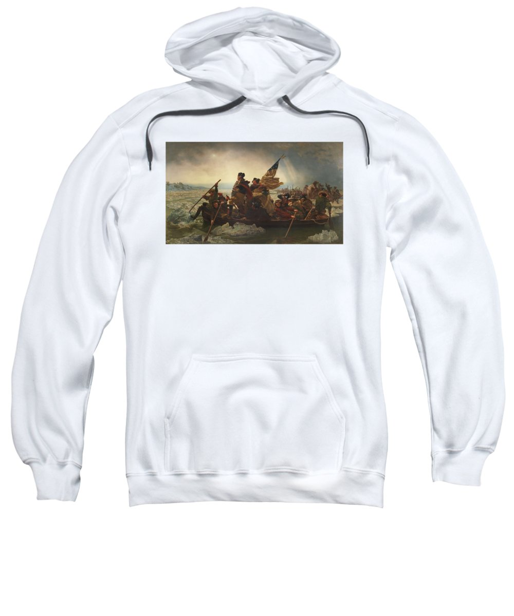 George Washington Sweatshirt featuring the painting Washington Crossing The Delaware by War Is Hell Store