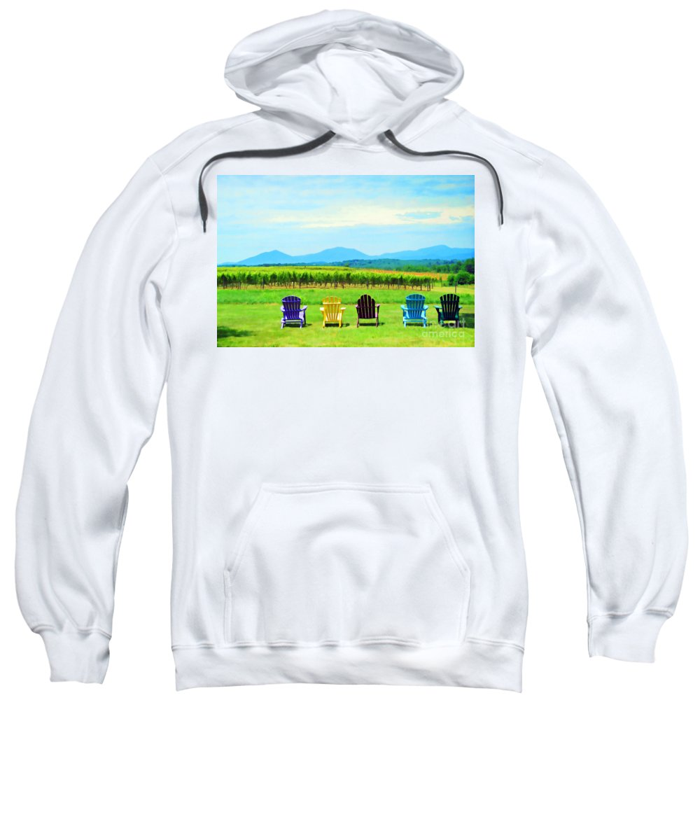 Chairs Sweatshirt featuring the photograph Watching The Grapes Grow by Kerri Farley