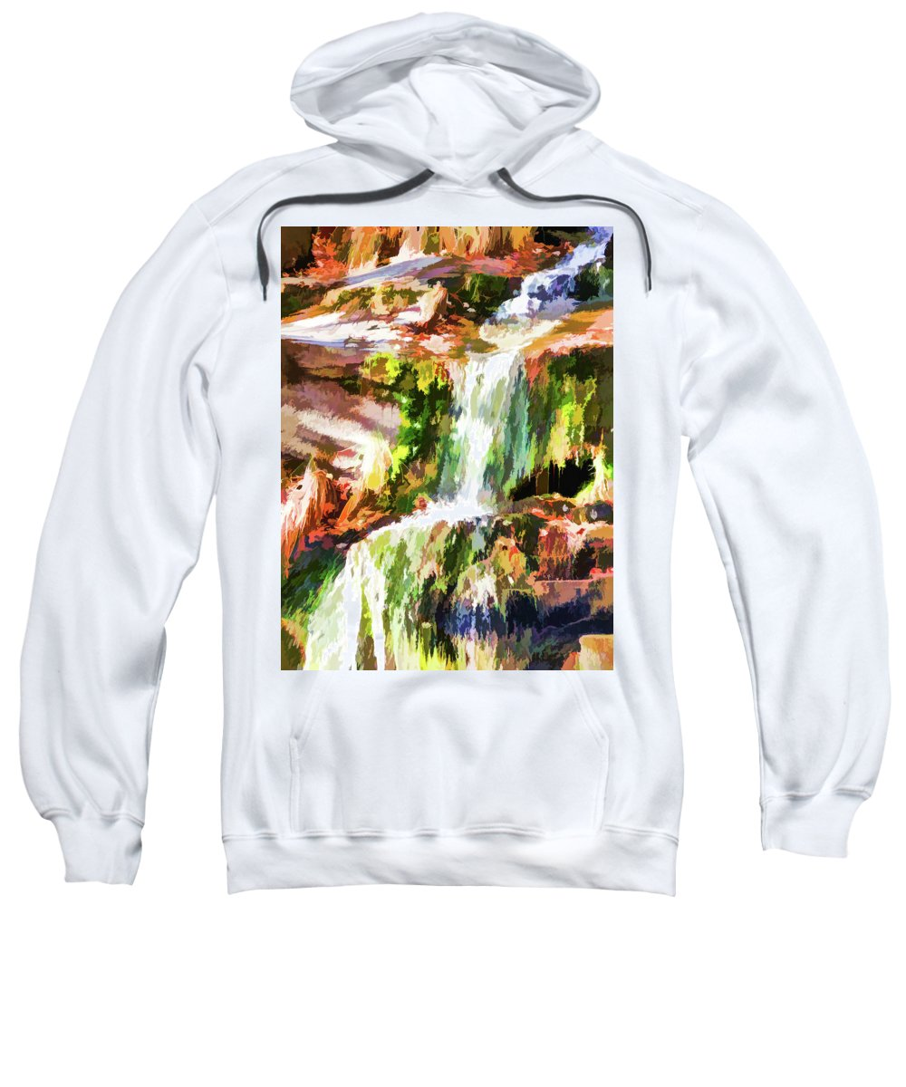 Alone Sweatshirt featuring the painting Water Cascading by Jeelan Clark