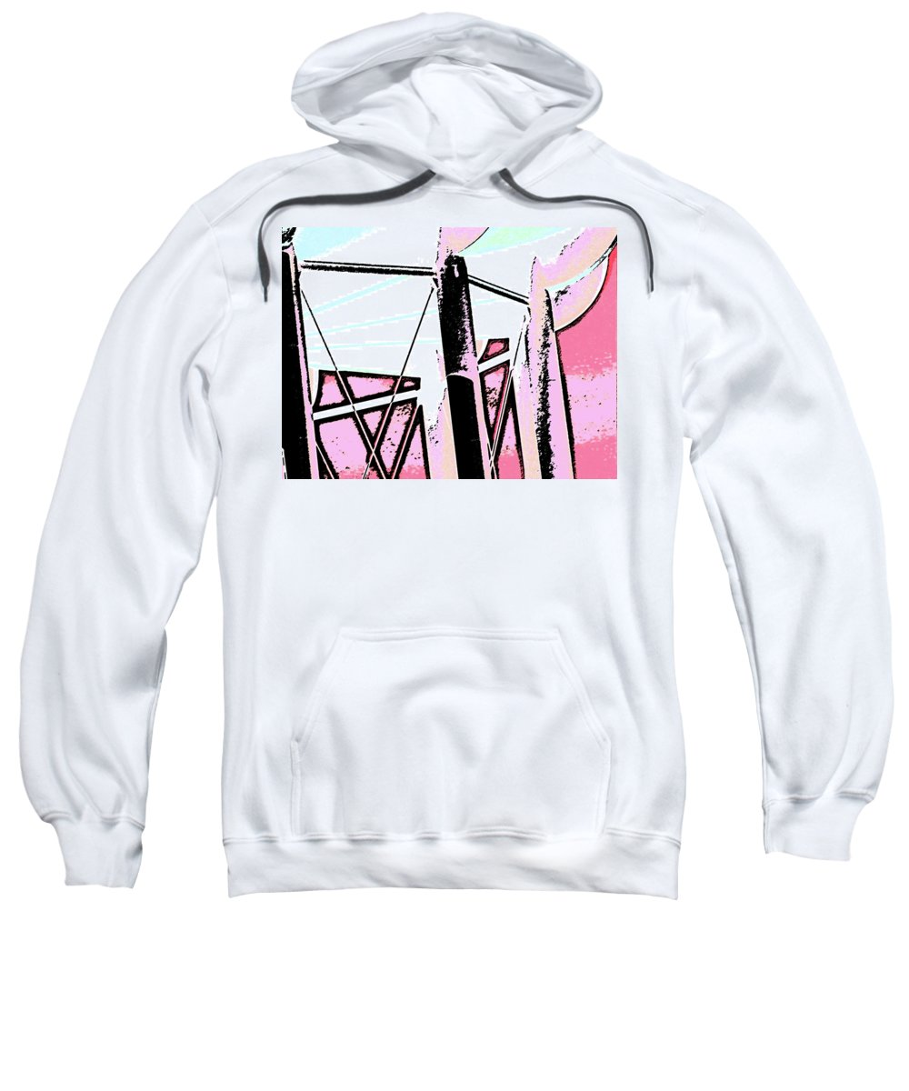 Abstract Sweatshirt featuring the digital art Water Tower In Pink Abstract by Lenore Senior