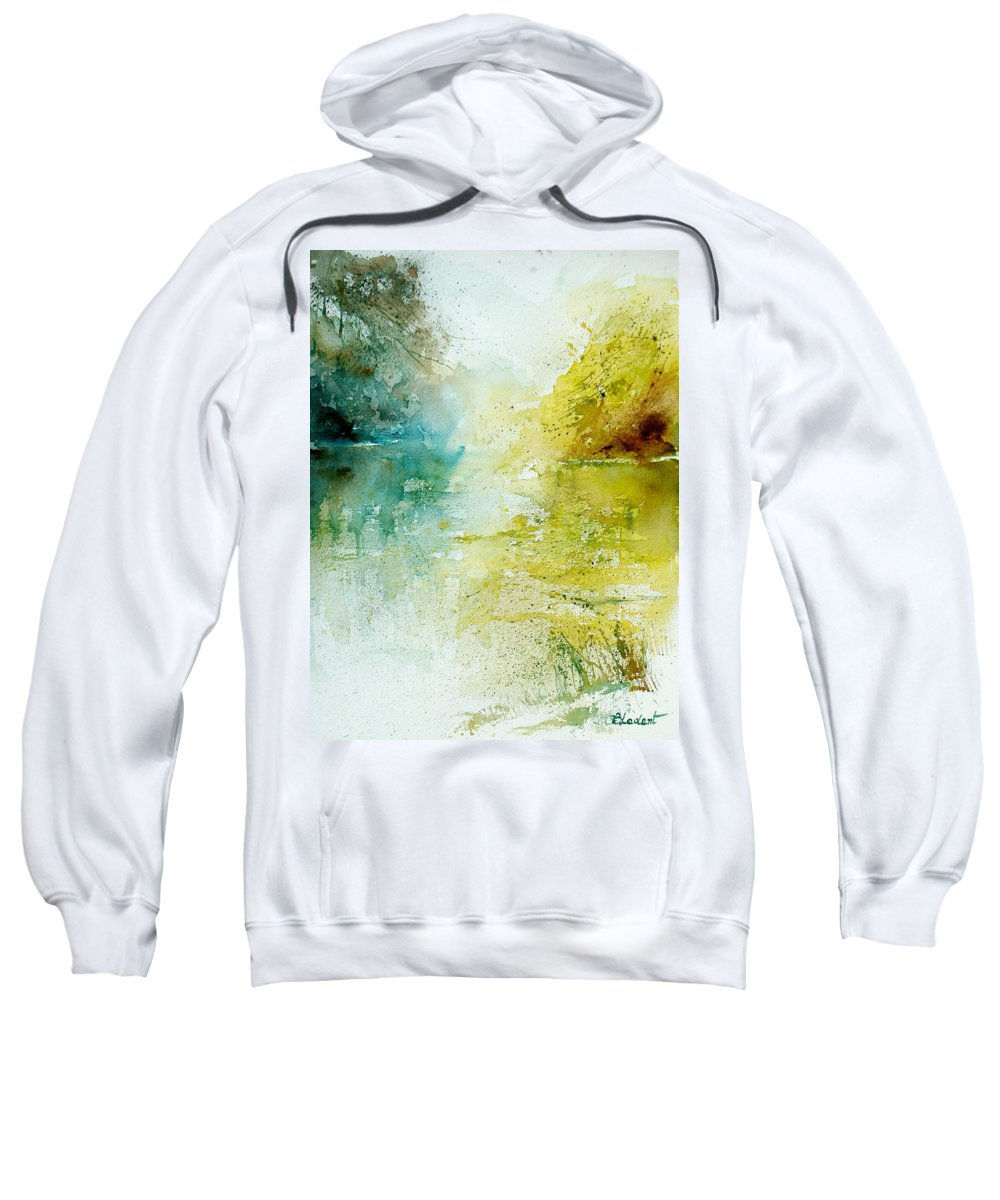 Pond Nature Landscape Sweatshirt featuring the painting Watercolor 24465 by Pol Ledent