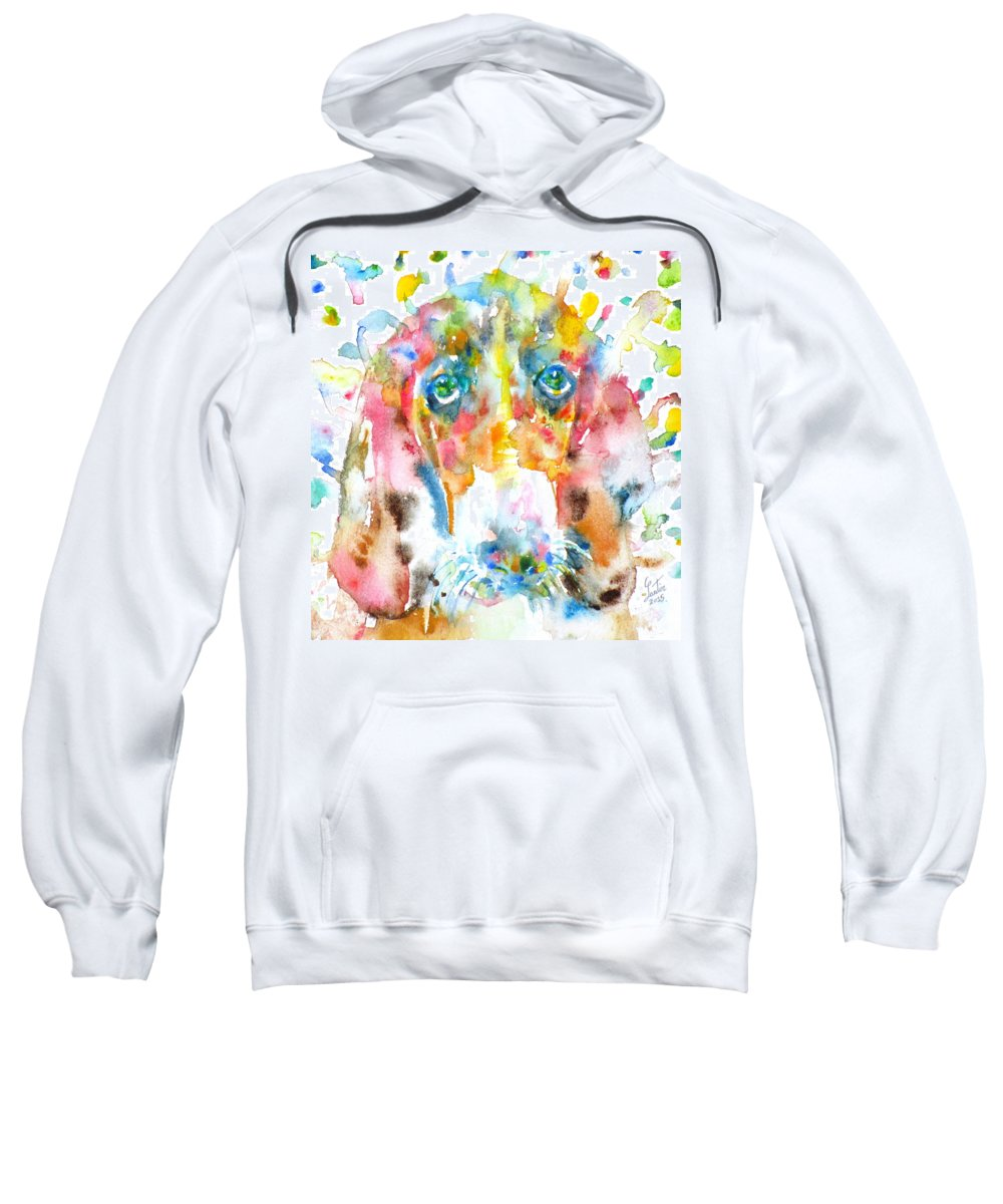 Basset Hound Sweatshirt featuring the painting Watercolor Basset Hound by Fabrizio Cassetta