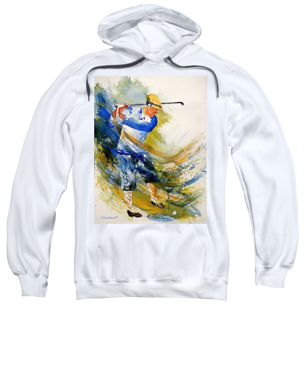 Golf Sweatshirt featuring the painting Watercolor Golf Player by Pol Ledent