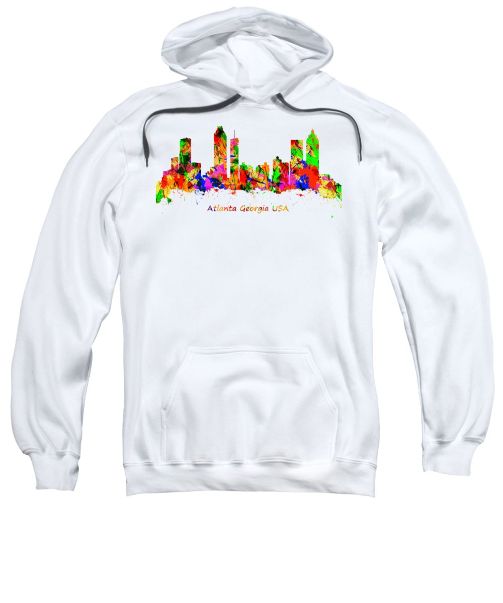 Atlanta Sweatshirt featuring the photograph Watercolour Art Print Of The Skyline Of Atlanta Georgia Usa by Chris Smith