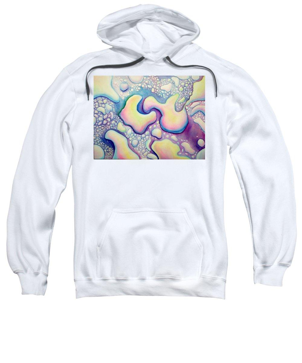 Water Sweatshirt featuring the painting Waterdrop Dance by Nancy Mueller