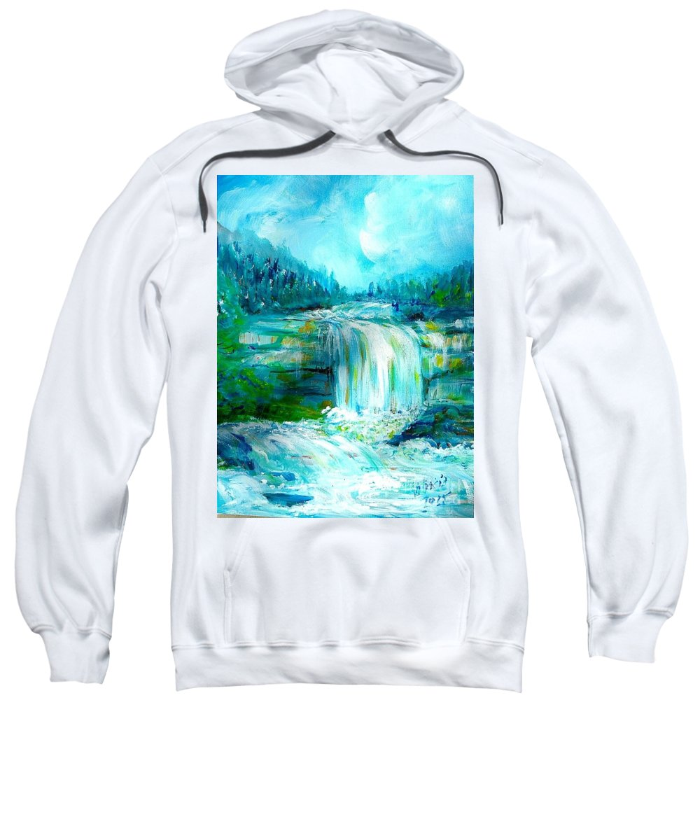 Nature Waterfall Landscape Blues Pinks Violet Greens Tans Shower Curtain Tote Bag Pillow Sweatshirt featuring the painting Waterfall At Pont Espagna by Patricia Ducher