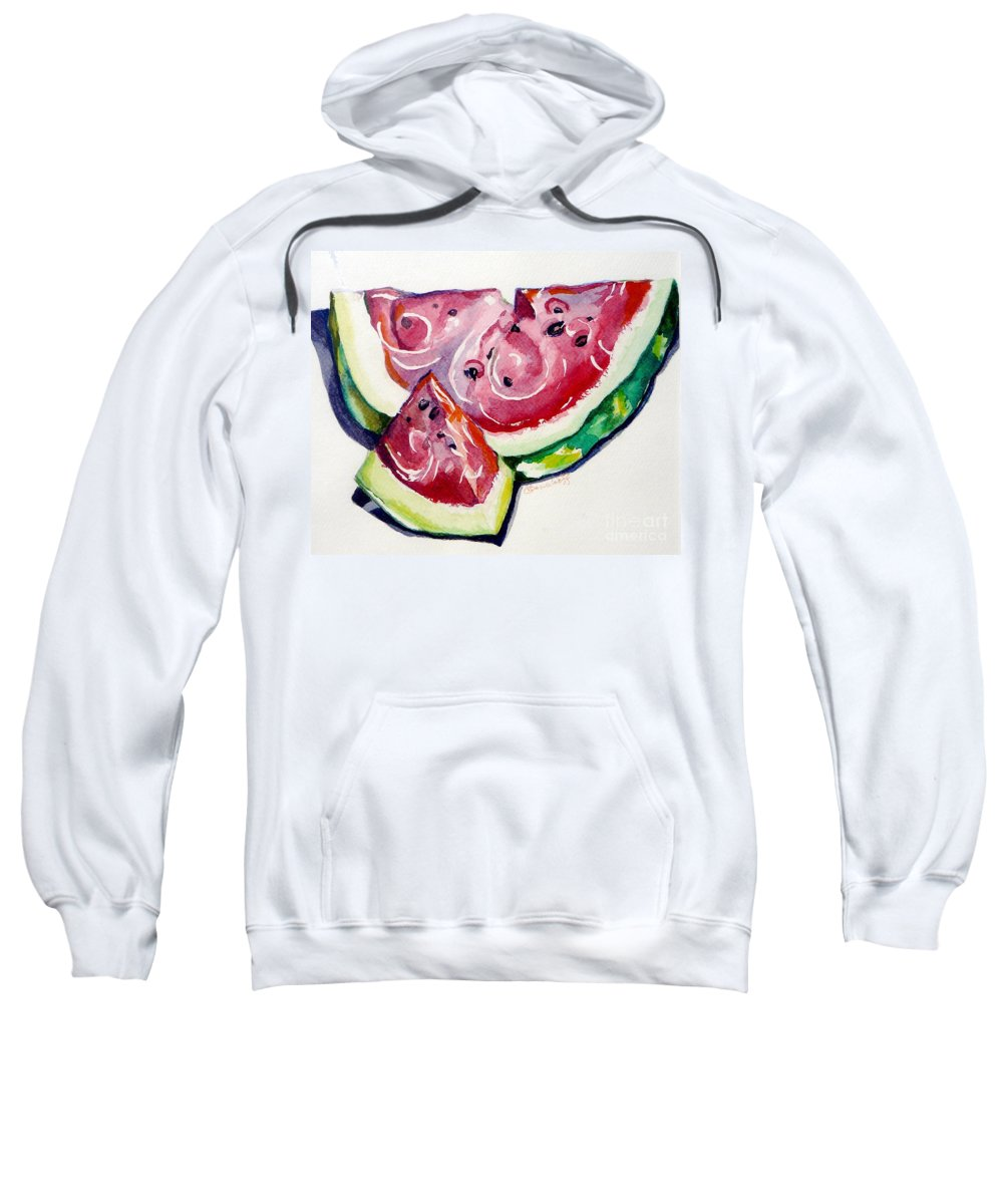 Still Life Sweatshirt featuring the painting Watermelon by Jan Bennicoff
