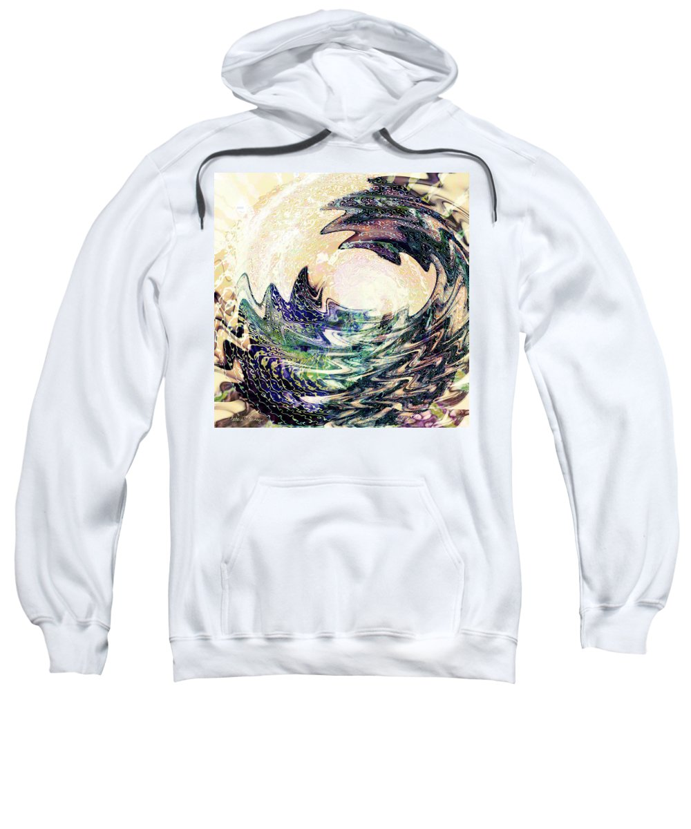 Ocean Sweatshirt featuring the digital art Wave by Barbara Berney