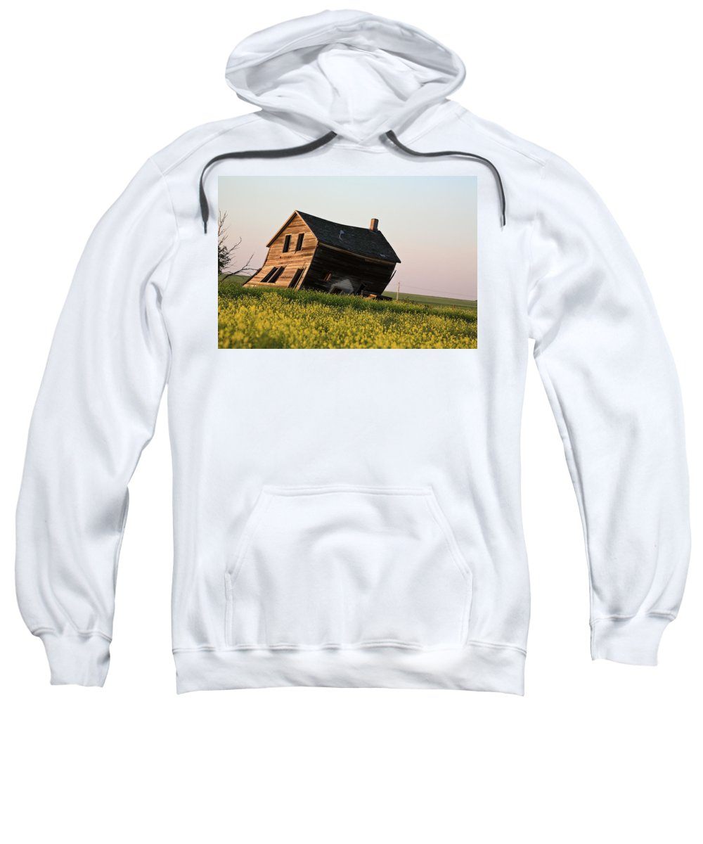 Abandoned Sweatshirt featuring the digital art Weathered Old Farm House In Scenic Saskatchewan by Mark Duffy