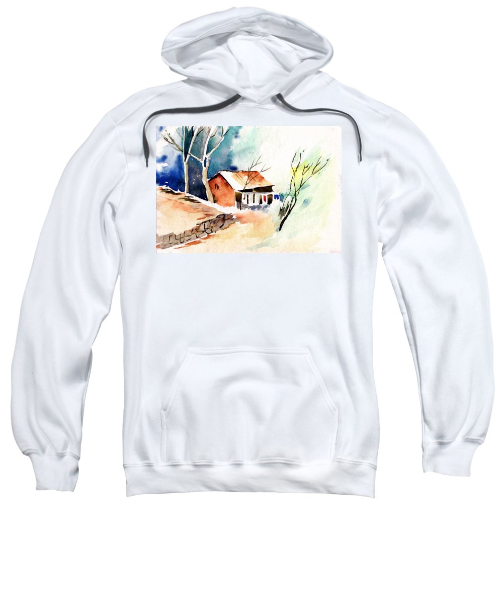 Nature Sweatshirt featuring the painting Weekend House by Anil Nene