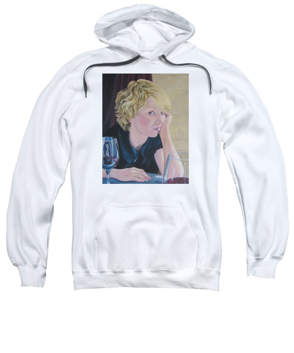 Portrait Sweatshirt featuring the painting Well by Connie Schaertl
