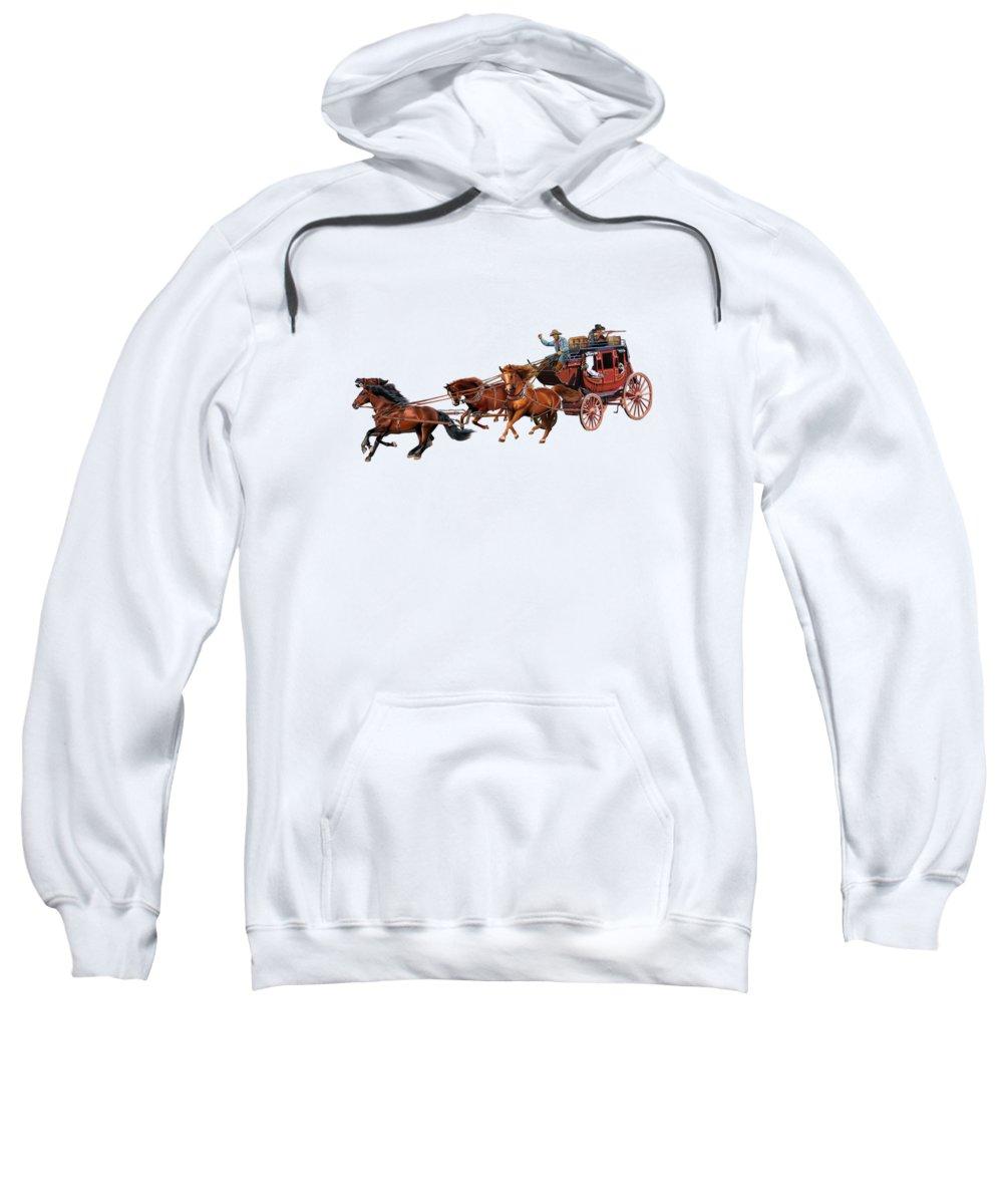 Stagecoach Sweatshirt featuring the digital art Wells Fargo Stagecoach by Glenn Holbrook