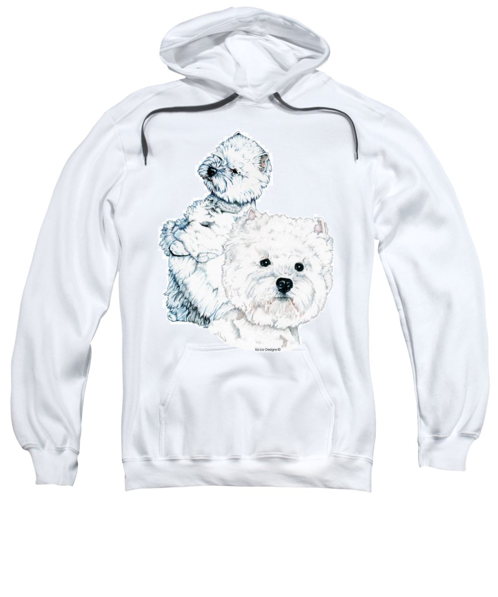 West Highland White Terrier Sweatshirt featuring the drawing West Highland White Terriers by Kathleen Sepulveda