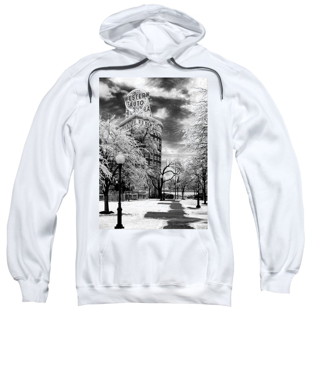 Western Auto Kansas City Sweatshirt featuring the photograph Western Auto In Winter by Steve Karol