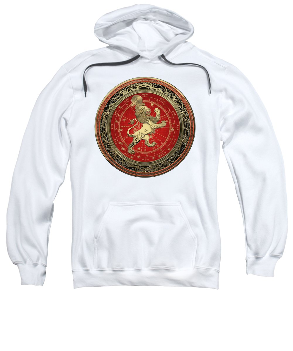 'zodiac' Collection By Serge Averbukh Sweatshirt featuring the digital art Western Zodiac - Golden Leo - The Lion On White Leather by Serge Averbukh