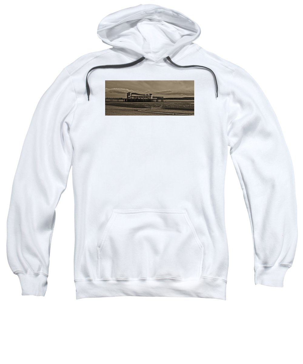 Beach Sweatshirt featuring the photograph Weston Super Mare  Outflow Pier Black White by Krzysztof Dac