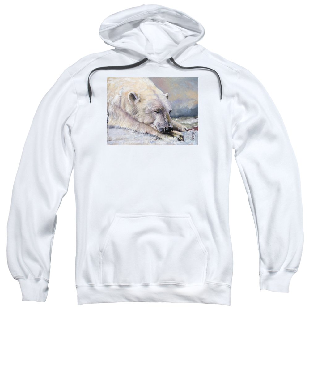 Bear Sweatshirt featuring the painting What do Polar Bears dream of by J W Baker