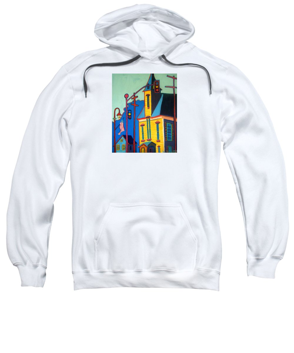 Landscape Sweatshirt featuring the painting What Once was Old is Now New Again CCA by Debra Bretton Robinson
