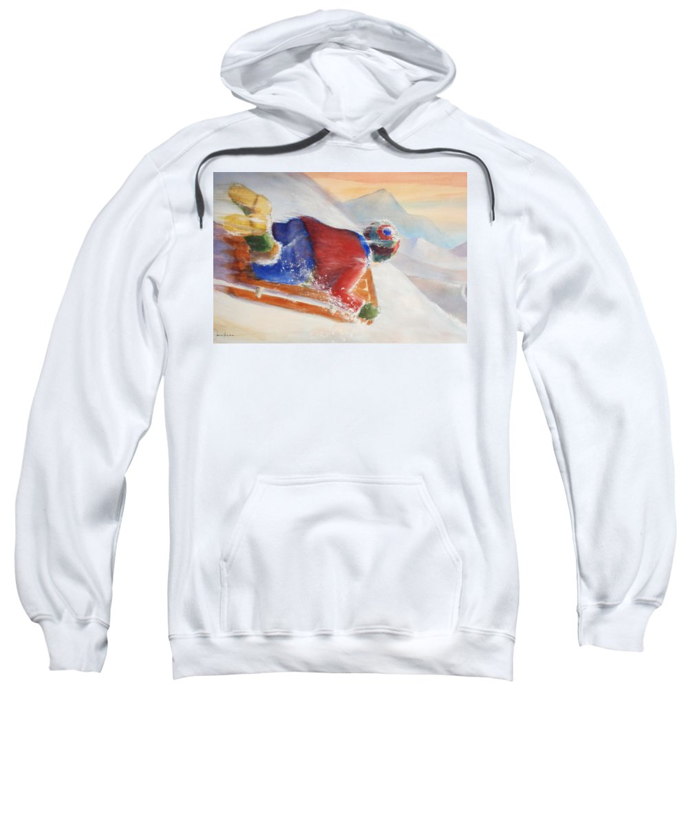 Solo Ride. Speed Sweatshirt featuring the painting Wheee by Marilyn Jacobson
